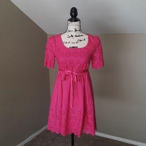 Betsey Johnson Pink Silk Babydoll Eyelet Dress